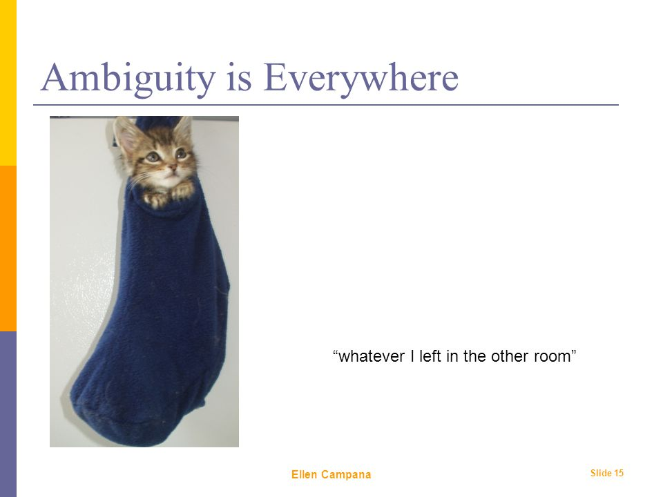 February 6 th, 2006 Ellen Campana Slide 15 Ambiguity is Everywhere whatever I left in the other room