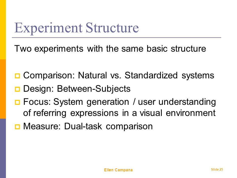 February 6 th, 2006 Ellen Campana Slide 25 Experiment Structure Two experiments with the same basic structure  Comparison: Natural vs.