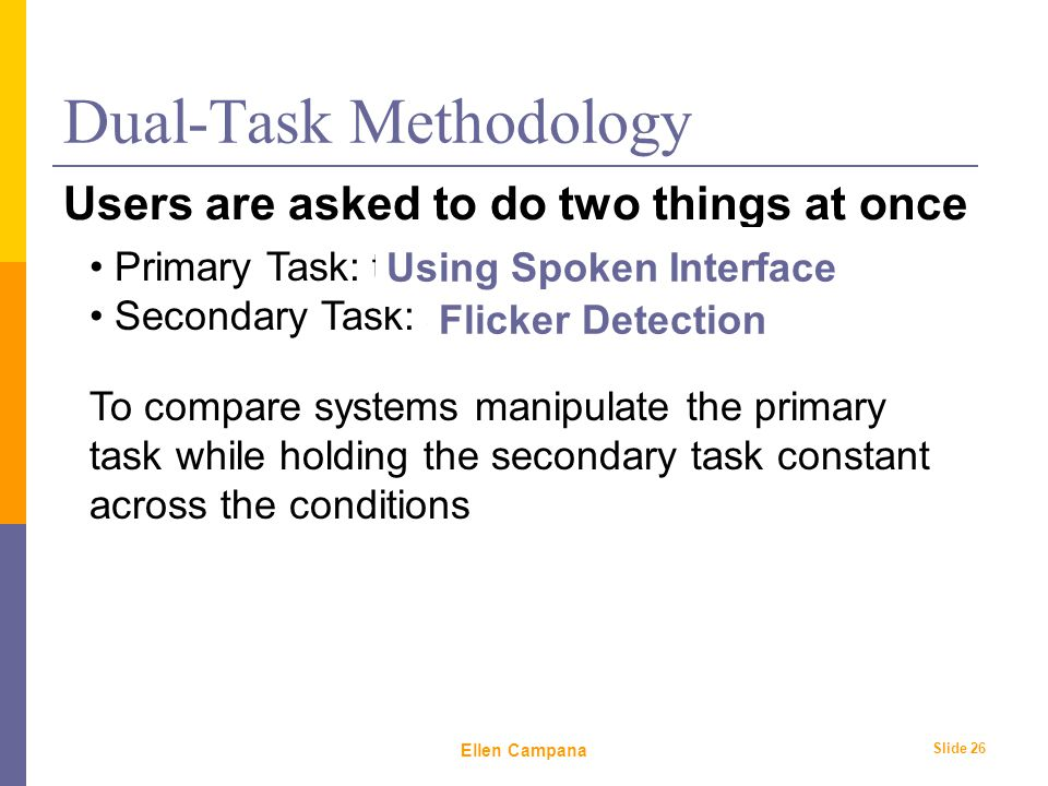 February 6 th, 2006 Ellen Campana Slide 26 Dual-Task Methodology Users are asked to do two things at once Primary Task: the one we're measuring Secondary Task: simple, well-understood To compare systems manipulate the primary task while holding the secondary task constant across the conditions Using Spoken Interface Flicker Detection