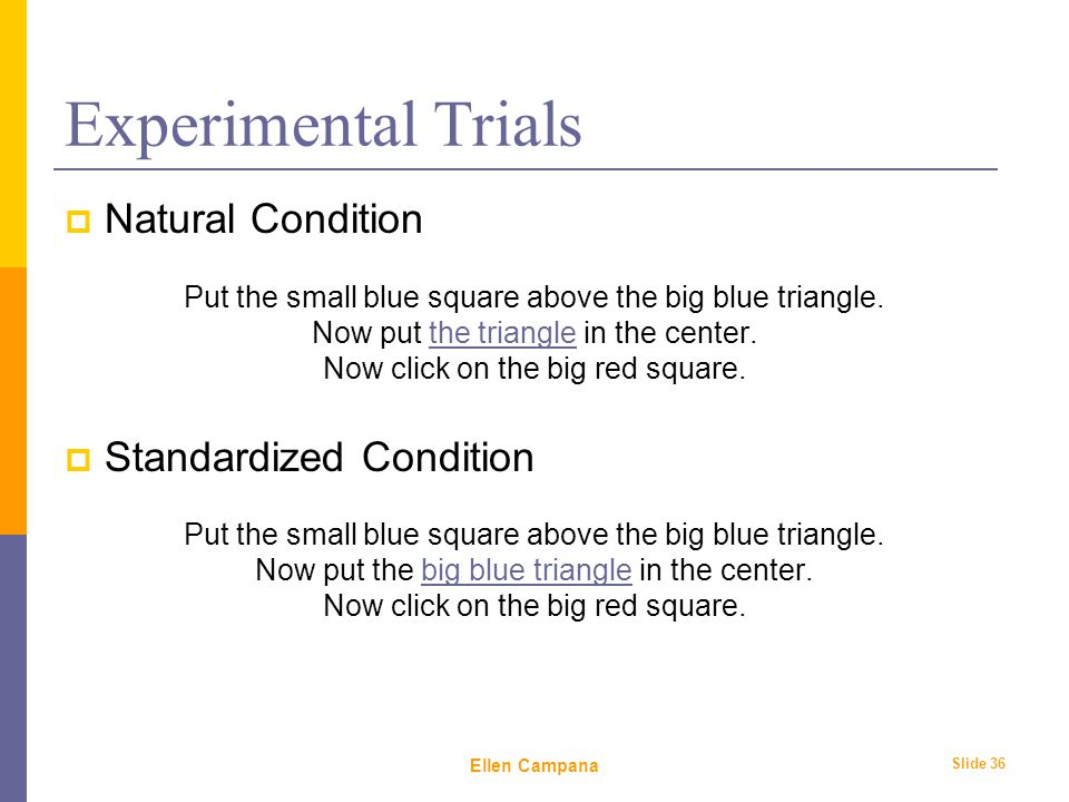 February 6 th, 2006 Ellen Campana Slide 36 Experimental Trials  Natural Condition Put the small blue square above the big blue triangle.
