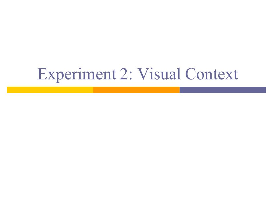 Experiment 2: Visual Context