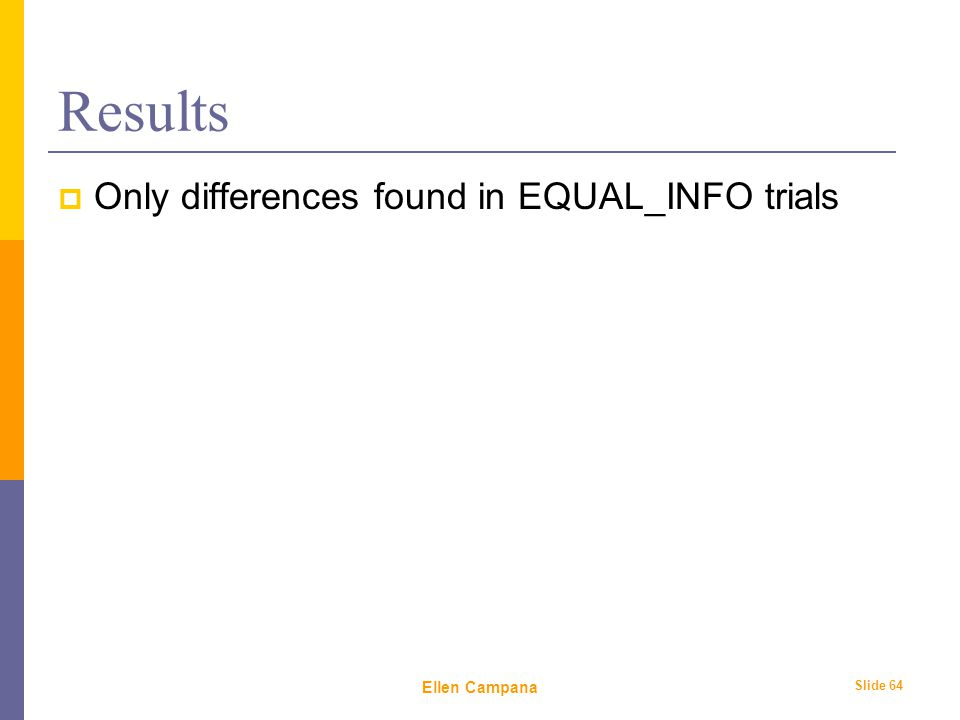 February 6 th, 2006 Ellen Campana Slide 64 Results  Only differences found in EQUAL_INFO trials