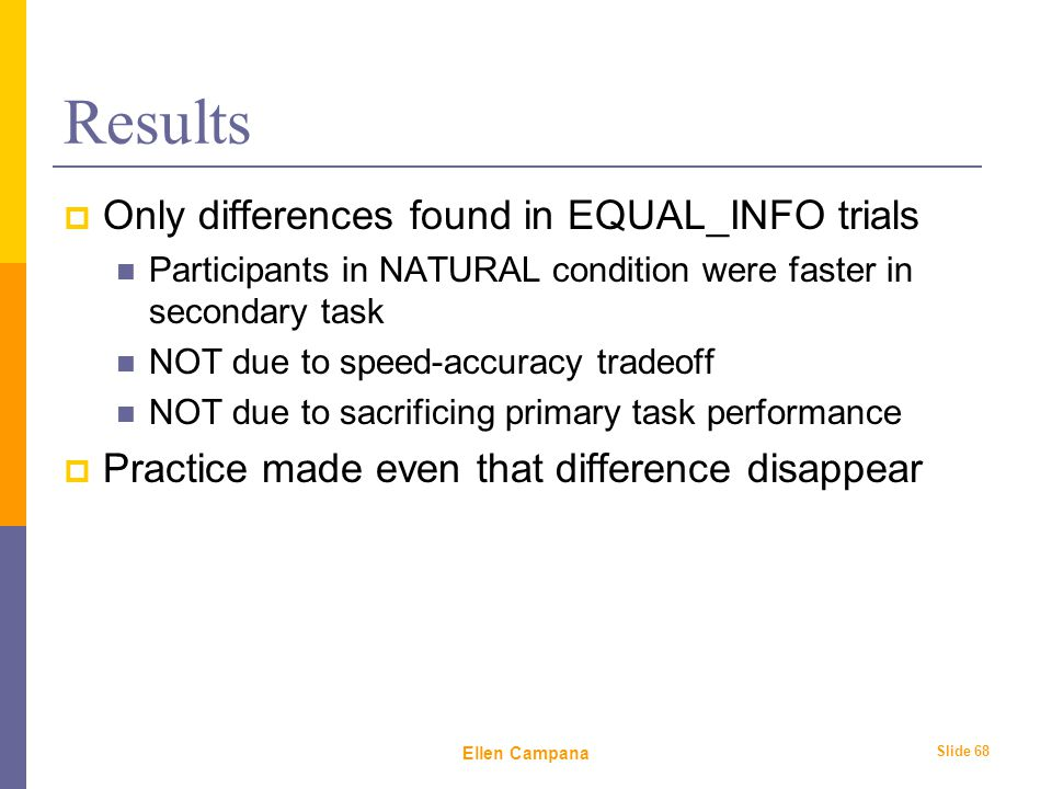 February 6 th, 2006 Ellen Campana Slide 68 Results  Only differences found in EQUAL_INFO trials Participants in NATURAL condition were faster in secondary task NOT due to speed-accuracy tradeoff NOT due to sacrificing primary task performance  Practice made even that difference disappear