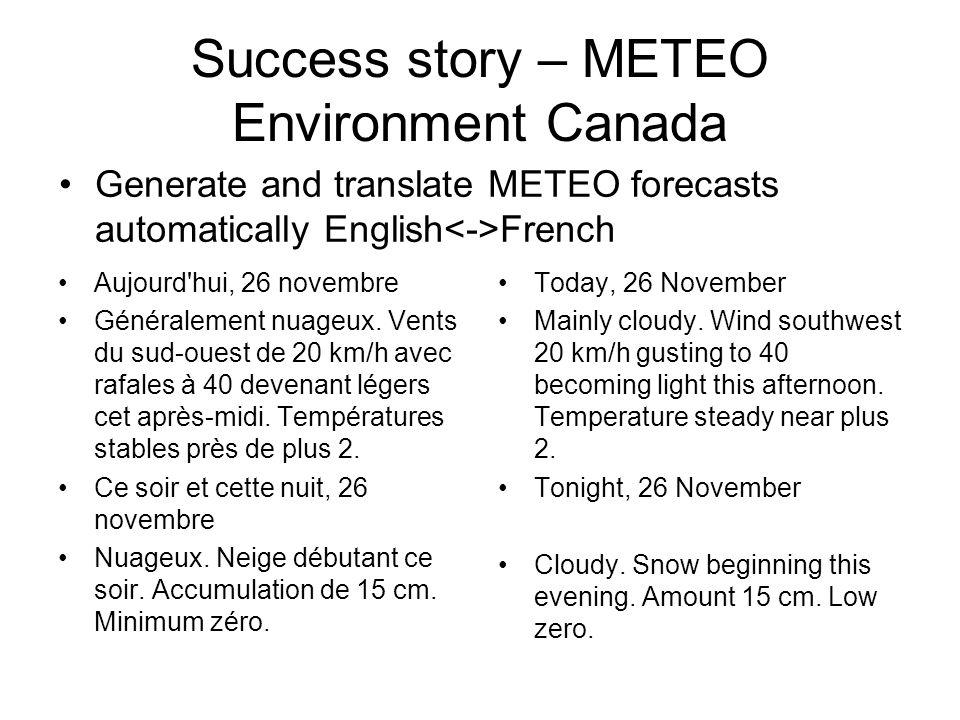 Success story – METEO Environment Canada Aujourd hui, 26 novembre Généralement nuageux.
