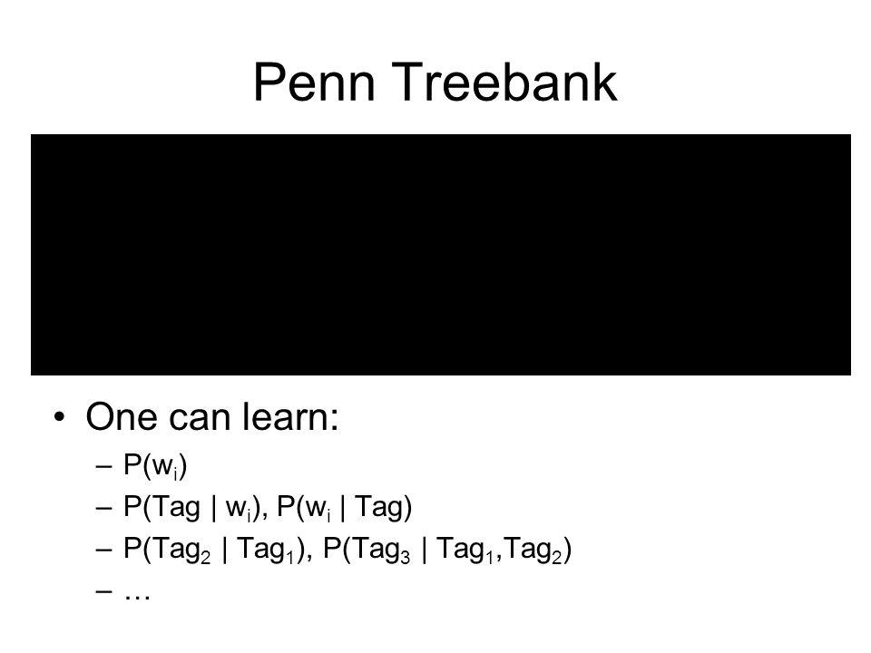 Penn Treebank One can learn: –P(w i ) –P(Tag | w i ), P(w i | Tag) –P(Tag 2 | Tag 1 ), P(Tag 3 | Tag 1,Tag 2 ) –…