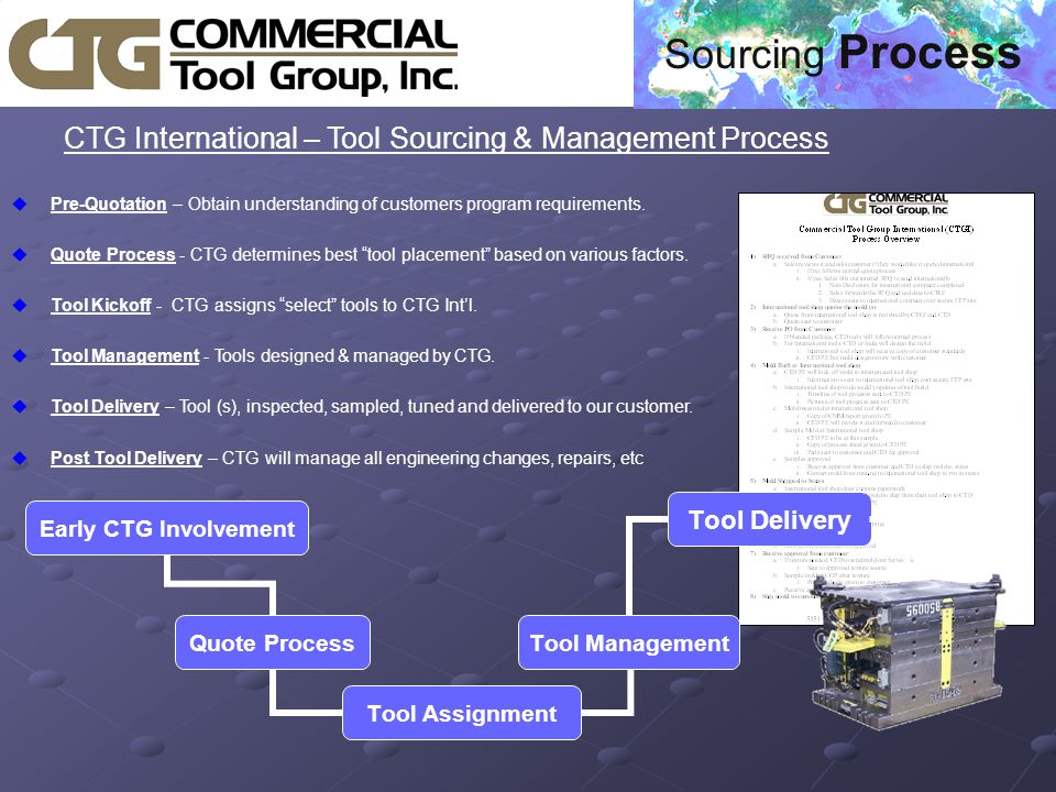  CTG International – Tool Sourcing & Management Process uPre-Quotation – Obtain understanding of customers program requirements.