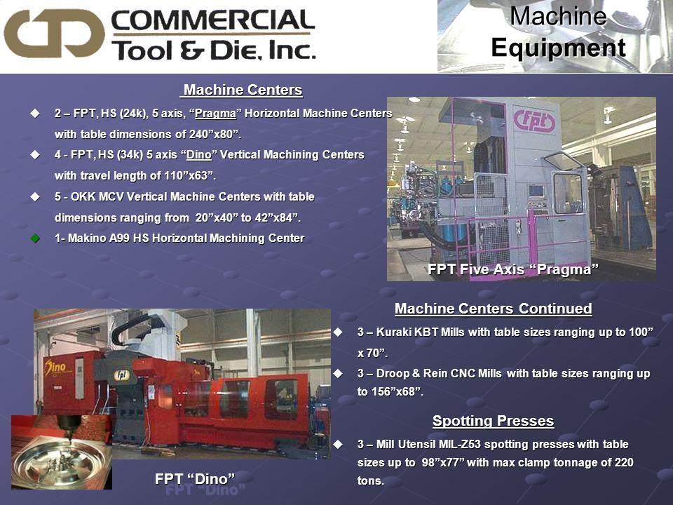 Machine Equipment Machine Centers Machine Centers u2 – FPT, HS (24k), 5 axis, Pragma Horizontal Machine Centers with table dimensions of 240 x80 .