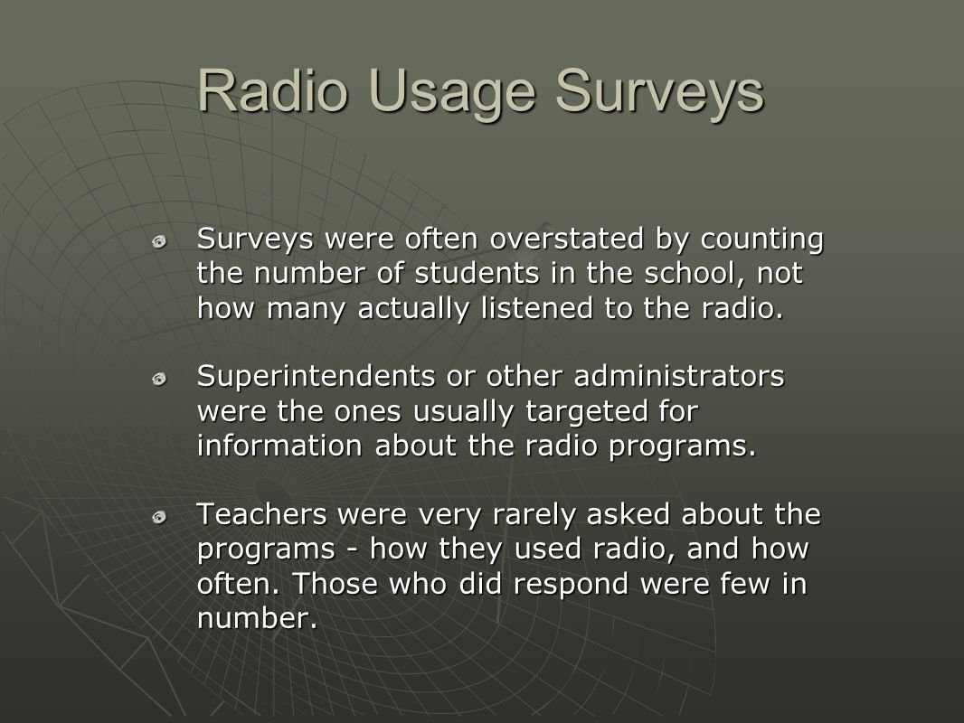 Radio Usage Surveys Surveys were often overstated by counting the number of students in the school, not how many actually listened to the radio.