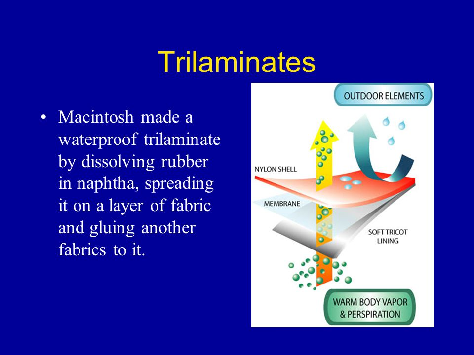 Trilaminates Macintosh made a waterproof trilaminate by dissolving rubber in naphtha, spreading it on a layer of fabric and gluing another fabrics to it.