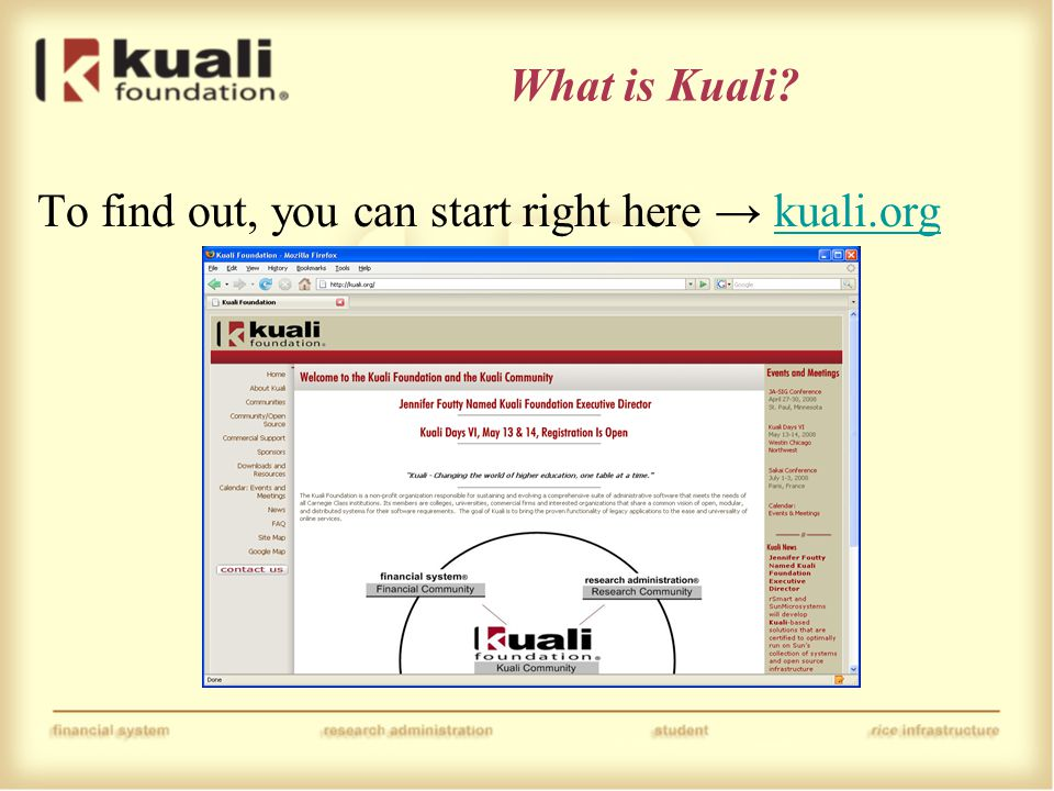 What is Kuali To find out, you can start right here → kuali.orgkuali.org