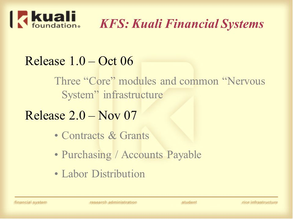 """Release 1.0 – Oct 06 Three """"Core"""" modules and common """"Nervous System"""" infrastructure Release 2.0 – Nov 07 Contracts & Grants Purchasing / Accounts Pay"""