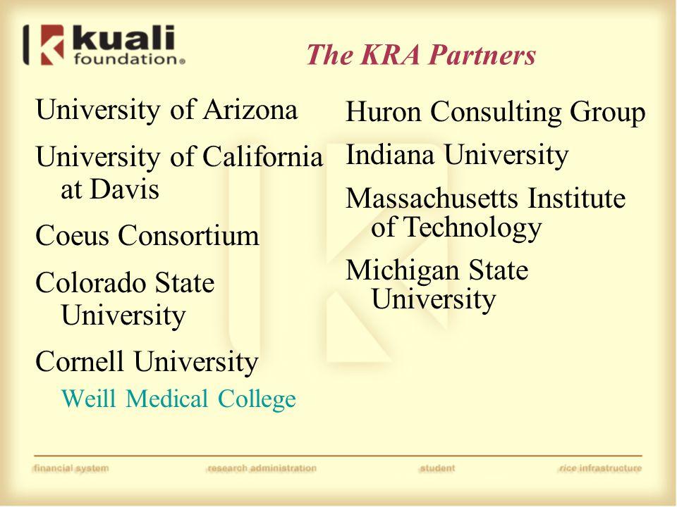 The KRA Partners University of Arizona University of California at Davis Coeus Consortium Colorado State University Cornell University Weill Medical C