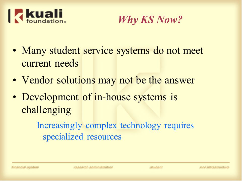 Why KS Now? Many student service systems do not meet current needs Vendor solutions may not be the answer Development of in-house systems is challengi