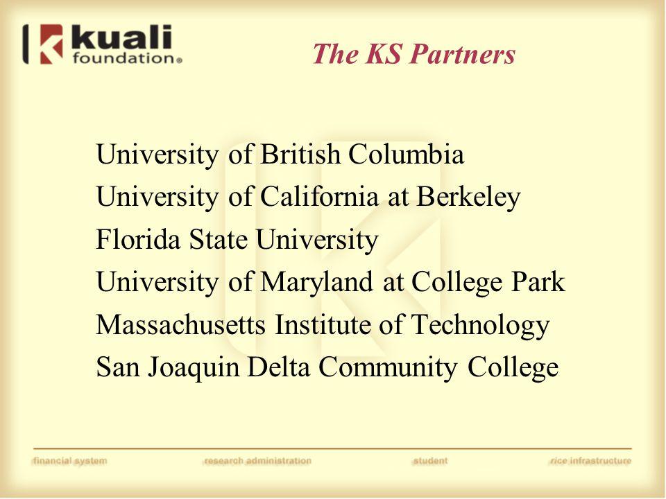The KS Partners University of British Columbia University of California at Berkeley Florida State University University of Maryland at College Park Ma