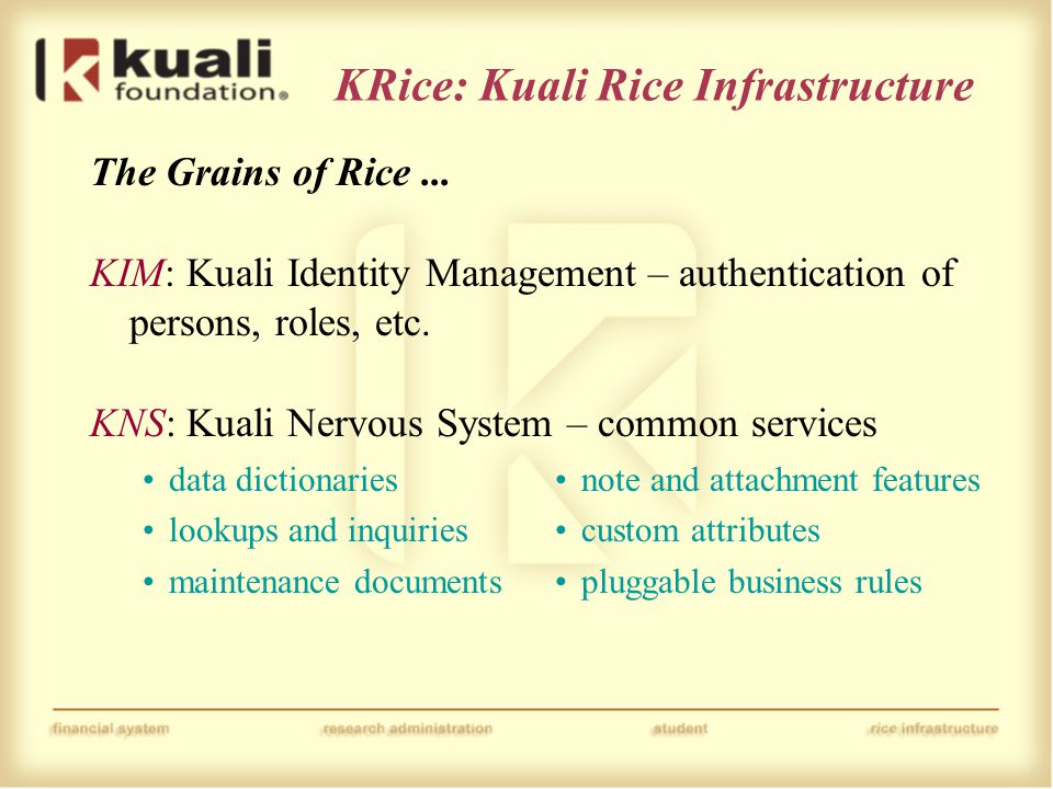 KRice: Kuali Rice Infrastructure The Grains of Rice... KIM: Kuali Identity Management – authentication of persons, roles, etc. KNS: Kuali Nervous Syst