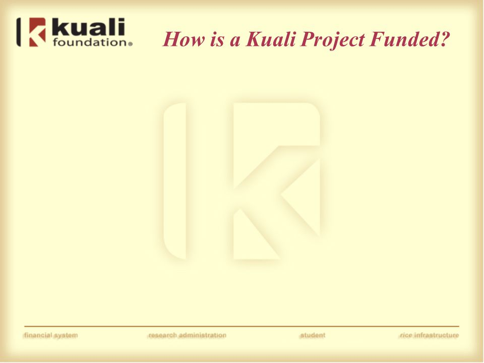 How is a Kuali Project Funded