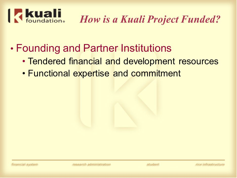 Founding and Partner Institutions Tendered financial and development resources Functional expertise and commitment