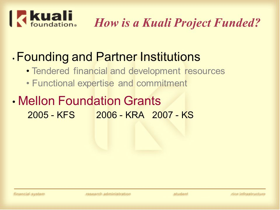 How is a Kuali Project Funded.