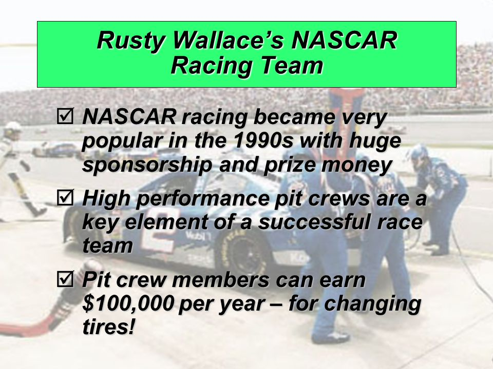 © 2008 Prentice Hall, Inc.10 – 6 Rusty Wallace's NASCAR Racing Team  NASCAR racing became very popular in the 1990s with huge sponsorship and prize money  High performance pit crews are a key element of a successful race team  Pit crew members can earn $100,000 per year – for changing tires!