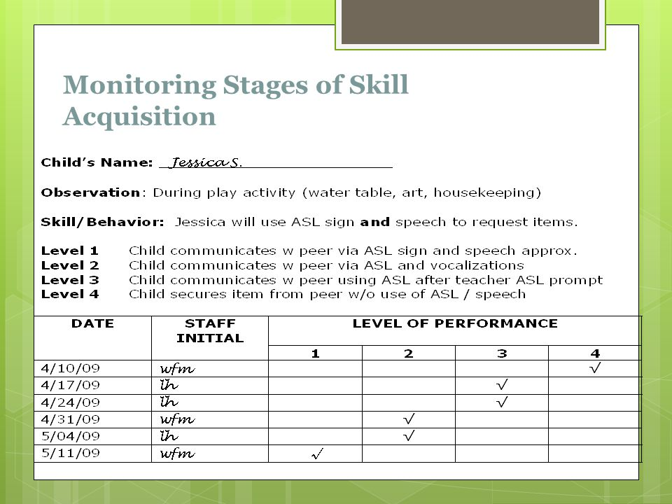 Monitoring Stages of Skill Acquisition