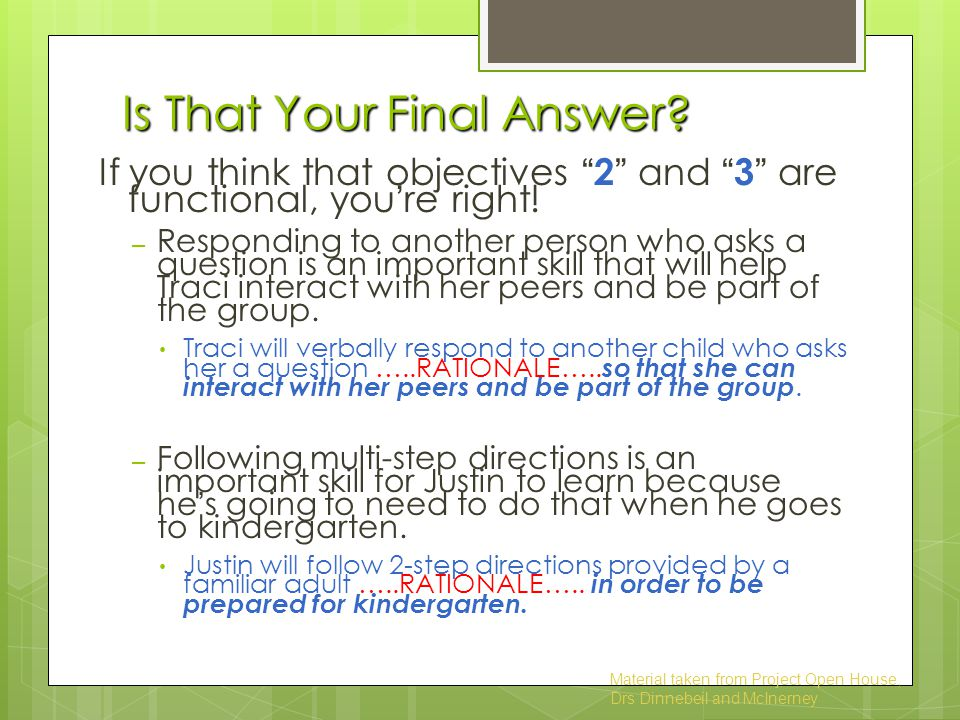 Is That Your Final Answer.