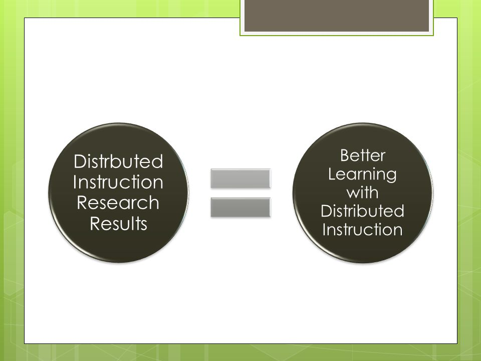 Distrbuted Instruction Research Results Better Learning with Distributed Instruction