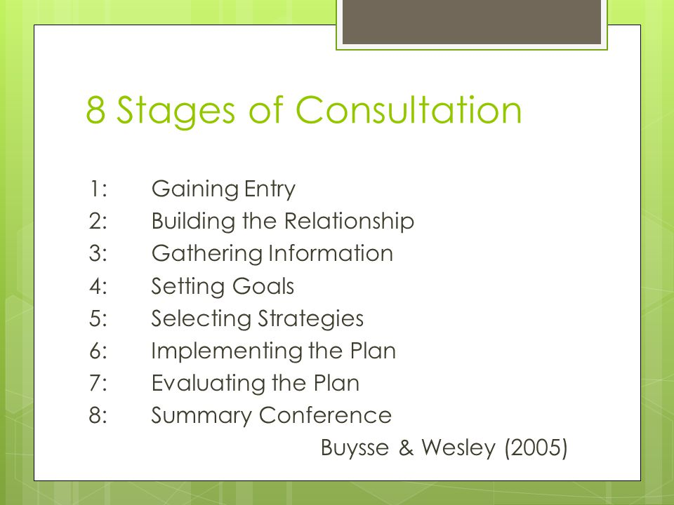 8 Stages of Consultation 1: Gaining Entry 2: Building the Relationship 3: Gathering Information 4: Setting Goals 5: Selecting Strategies 6: Implementing the Plan 7: Evaluating the Plan 8: Summary Conference Buysse & Wesley (2005)