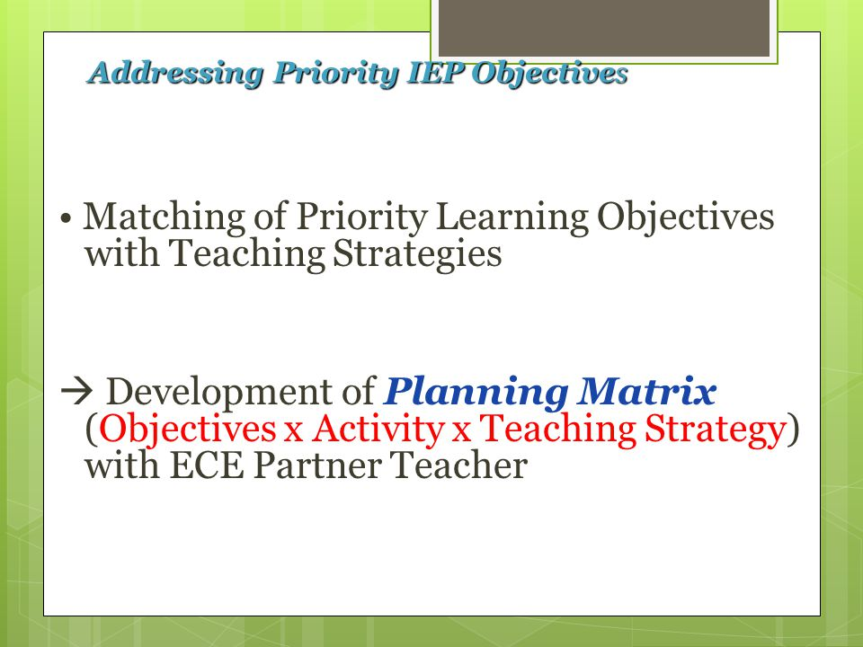 Addressing Priority IEP Objectives Matching of Priority Learning Objectives with Teaching Strategies  Development of Planning Matrix (Objectives x Activity x Teaching Strategy) with ECE Partner Teacher
