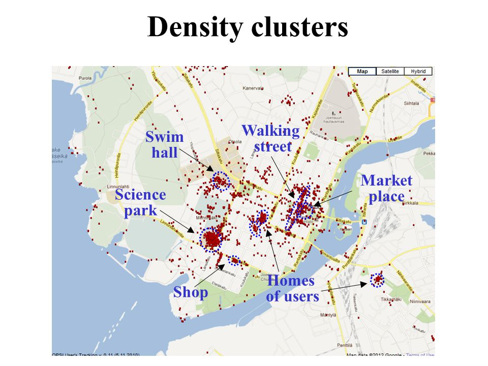 Density clusters Homes of users Shop Walking street Market place Swim hall Science park