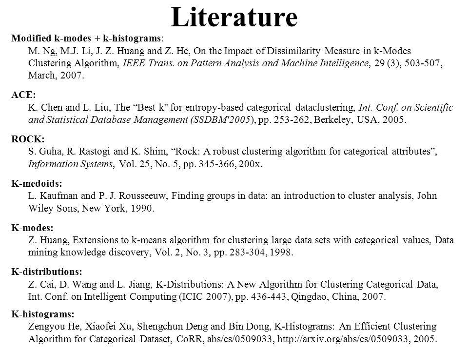 Modified k-modes + k-histograms: M. Ng, M.J. Li, J.