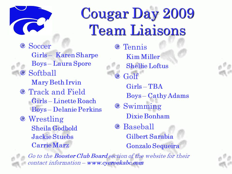Cougar Day 2009 Team Liaisons Soccer Girls – Karen Sharpe Boys – Laura Spore Softball Mary Beth Irvin Track and Field Girls – Linette Roach Boys – Delanie Perkins Wrestling Sheila Godbold Jackie Stuebs Carrie Marz Tennis Kim Miller Shellie Loftus Golf Girls – TBA Boys – Cathy Adams Swimming Dixie Bonham Baseball Gilbert Sarabia Gonzalo Sequeira Go to the Booster Club Board section of the website for their contact information – www.cycreekabc.com