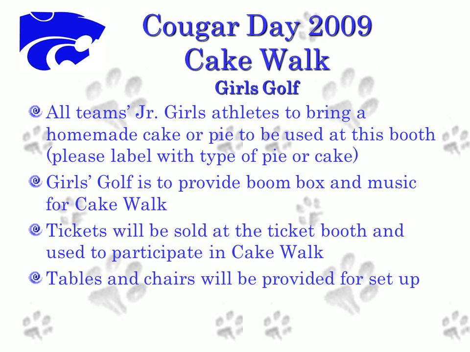 Cougar Day 2009 Cake Walk Girls Golf All teams' Jr.