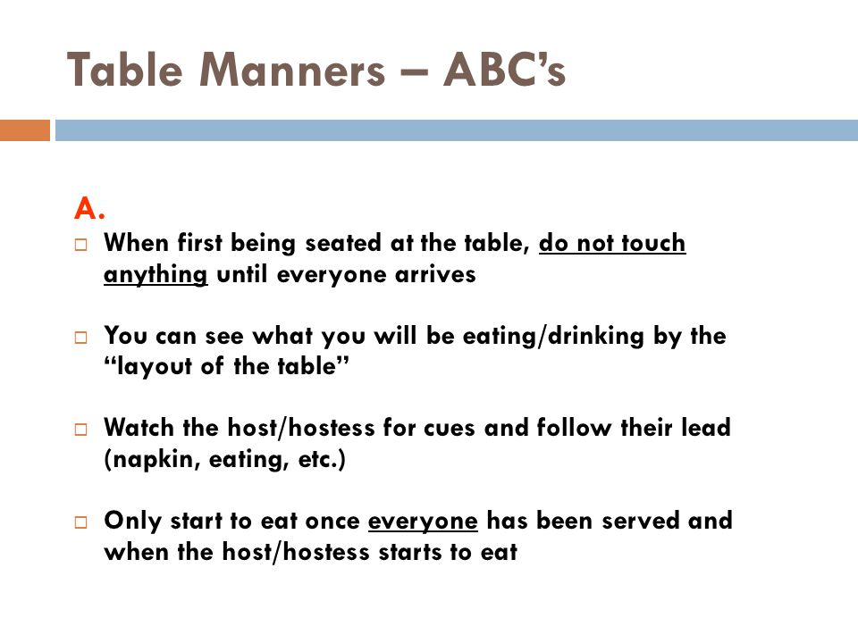 Table Manners – ABC's A.