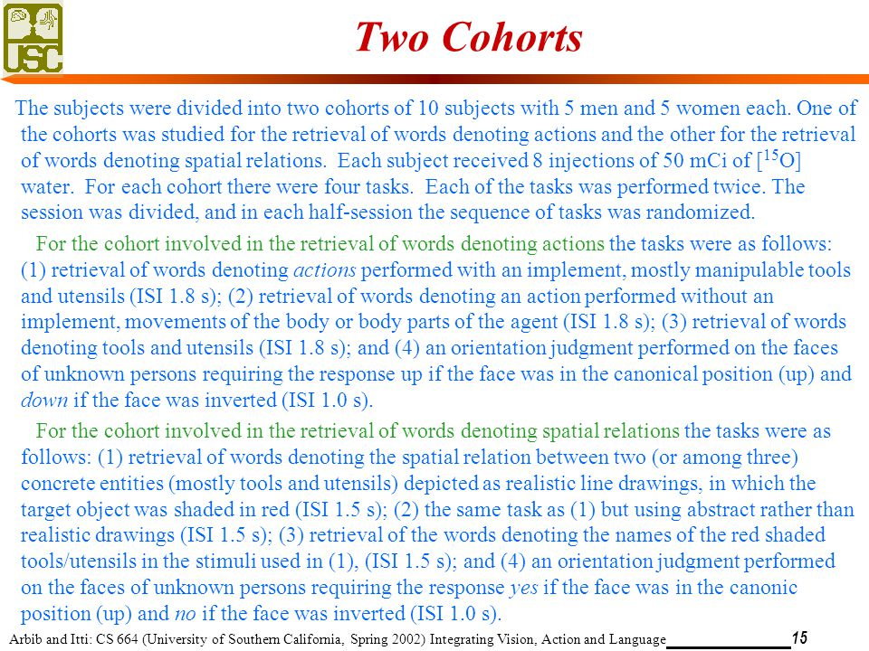 Arbib and Itti: CS 664 (University of Southern California, Spring 2002) Integrating Vision, Action and Language 15 Two Cohorts The subjects were divided into two cohorts of 10 subjects with 5 men and 5 women each.