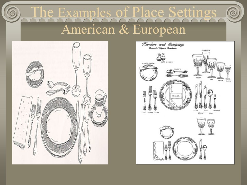 The Examples of Place Settings American & European