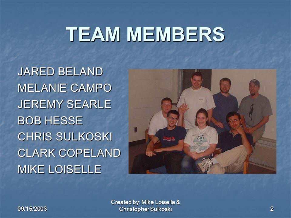 09/15/2003 Created by: Mike Loiselle & Christopher Sulkoski2 TEAM MEMBERS JARED BELAND MELANIE CAMPO JEREMY SEARLE BOB HESSE CHRIS SULKOSKI CLARK COPELAND MIKE LOISELLE