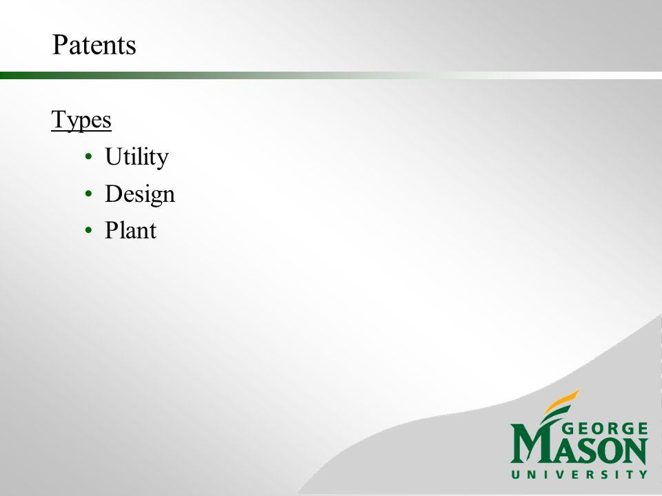 Patents Types Utility Design Plant