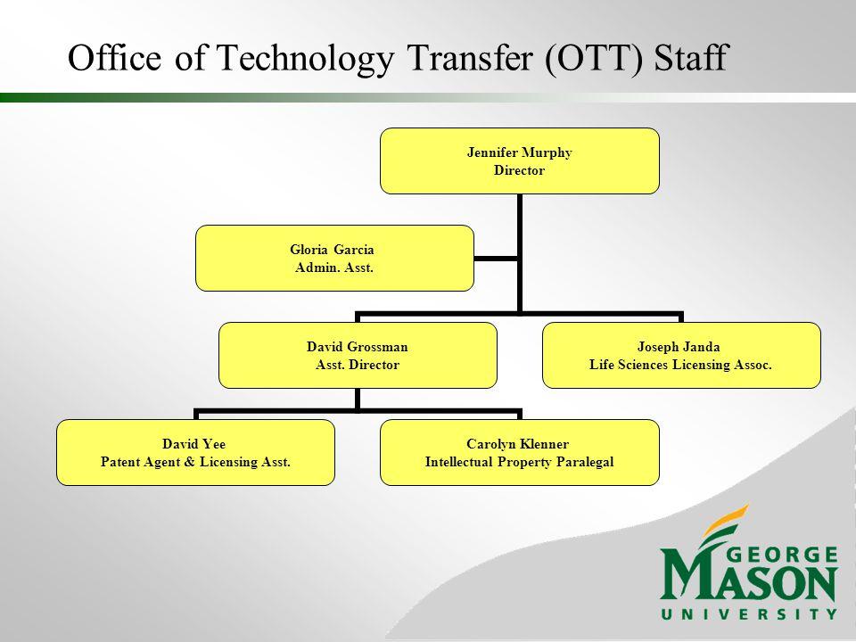 Office of Technology Transfer (OTT) Staff Jennifer Murphy Director David Grossman Asst. Director David Yee Patent Agent & Licensing Asst. Carolyn Klen