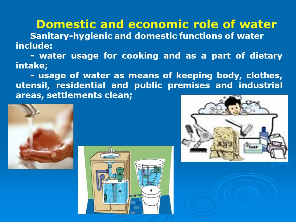 Domestic and economic role of water Sanitary-hygienic and domestic functions of water include: - water usage for cooking and as a part of dietary intake; - usage of water as means of keeping body, clothes, utensil, residential and public premises and industrial areas, settlements clean;