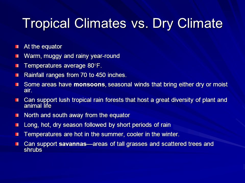 Tropical Climates vs.