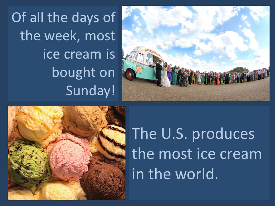 Of all the days of the week, most ice cream is bought on Sunday.