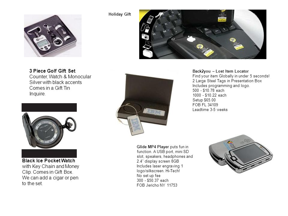 3 Piece Golf Gift Set Counter, Watch & Monocular Silver with black accents Comes in a Gift Tin Inquire.