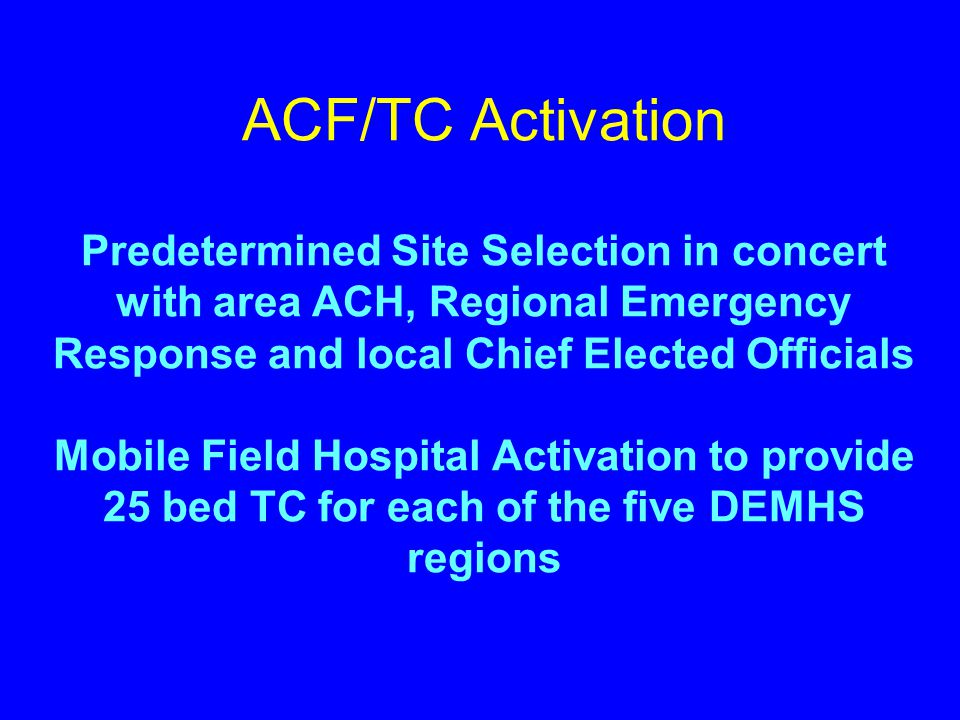 Administrative Issues  ACH Oversight of all Non-Medical Aspects of ACF Operations  ACF to Operate as a Satellite of a Designated ACH under its DPH l