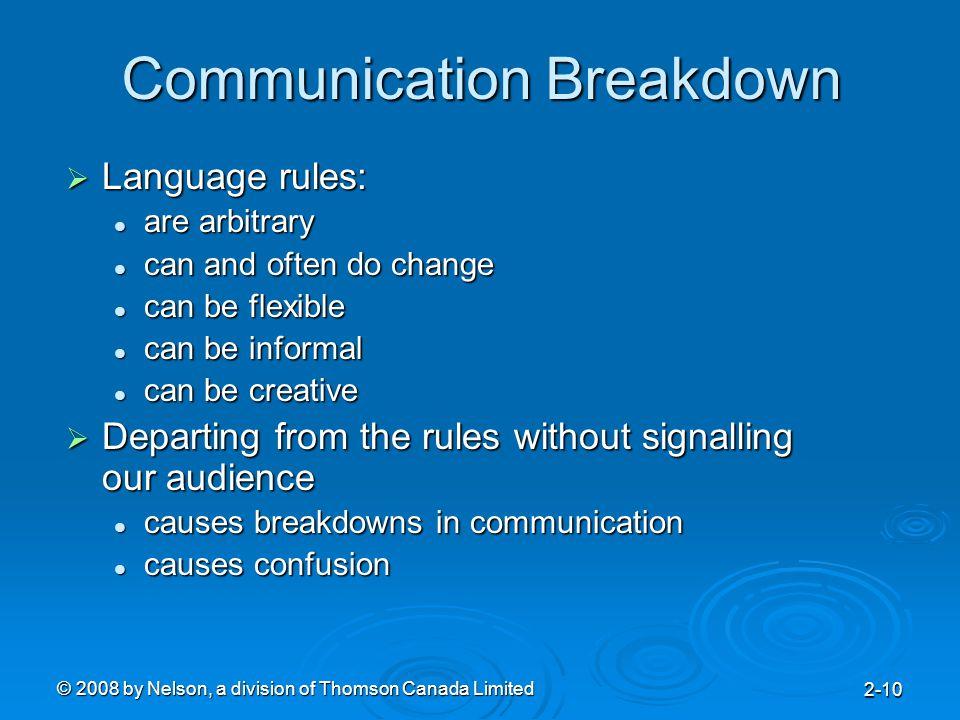 © 2008 by Nelson, a division of Thomson Canada Limited 2-10 Communication Breakdown  Language rules: are arbitrary are arbitrary can and often do cha
