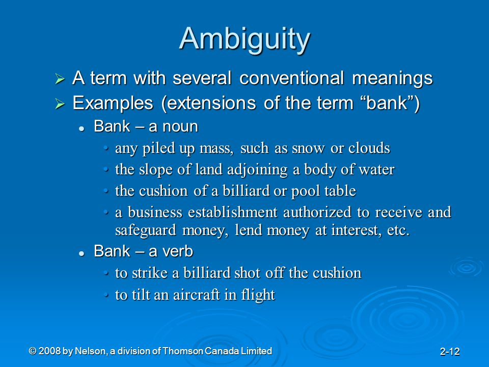 """© 2008 by Nelson, a division of Thomson Canada Limited 2-12 Ambiguity  A term with several conventional meanings  Examples (extensions of the term """""""