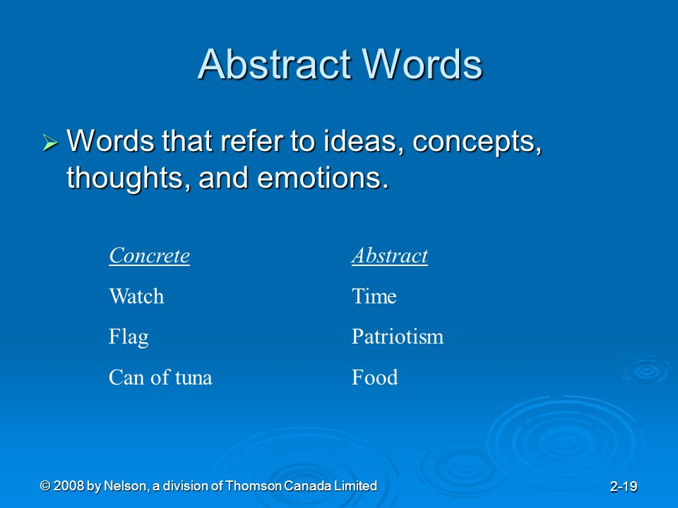 © 2008 by Nelson, a division of Thomson Canada Limited 2-19 Abstract Words  Words that refer to ideas, concepts, thoughts, and emotions.