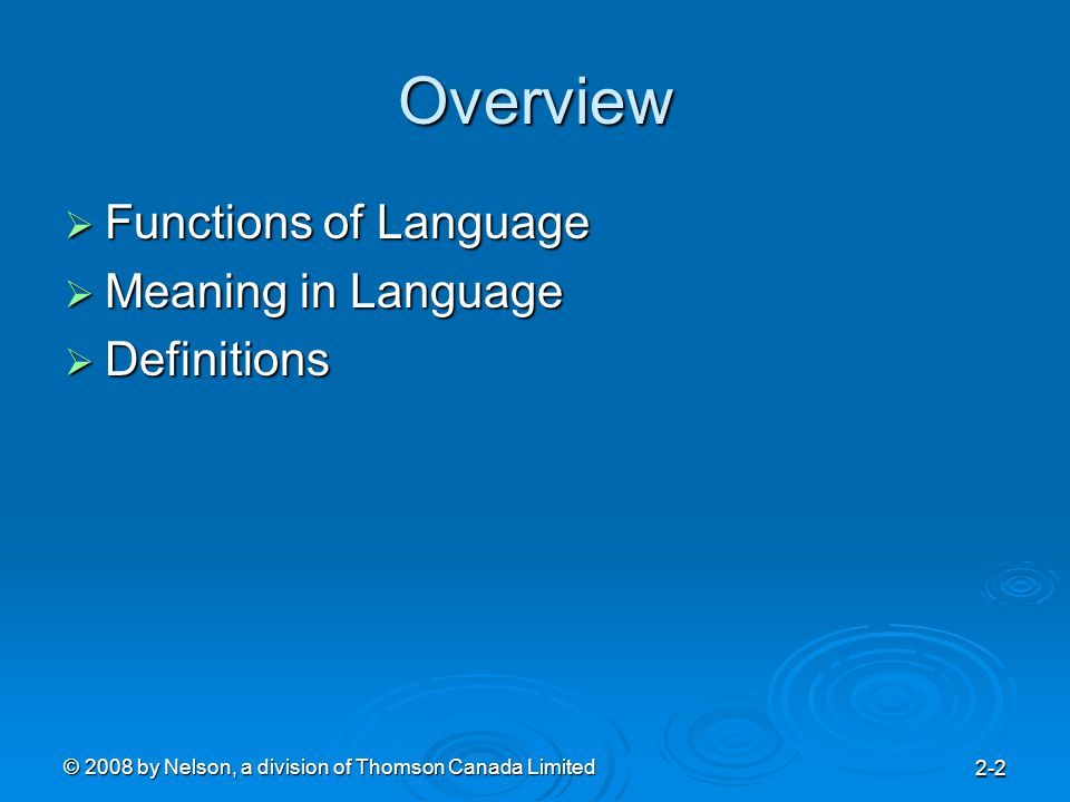 © 2008 by Nelson, a division of Thomson Canada Limited 2-3 Functions of Language  Informative Function  Expressive Function  Directive Function Persuasion Persuasion