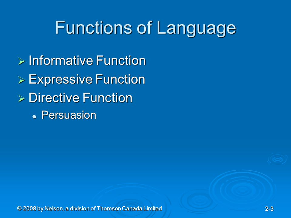 © 2008 by Nelson, a division of Thomson Canada Limited 2-3 Functions of Language  Informative Function  Expressive Function  Directive Function Persuasion Persuasion