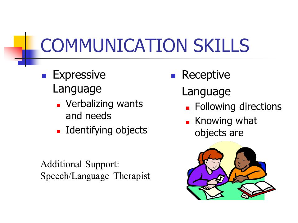 COMMUNICATION SKILLS Expressive Language Verbalizing wants and needs Identifying objects Receptive Language Following directions Knowing what objects