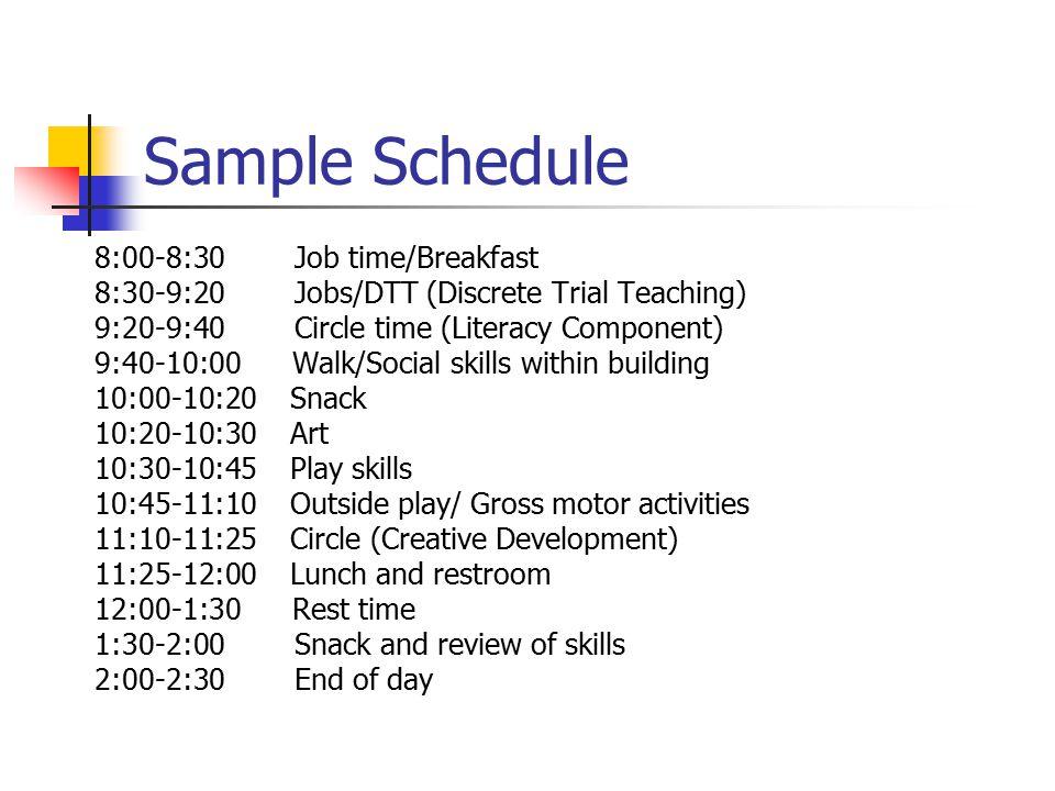 Sample Schedule 8:00-8:30 Job time/Breakfast 8:30-9:20 Jobs/DTT (Discrete Trial Teaching) 9:20-9:40 Circle time (Literacy Component) 9:40-10:00 Walk/S